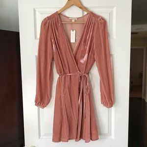 Yumi Kim blush velvet wrap dress XS